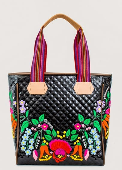Introducing Our Traditional Market Style Tote In Sugar Skulls Printed Consuelacloth With Natural Leather Trim This Seemingly Typical Has