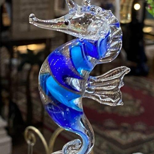 blue swirl seahorse christmas ornament