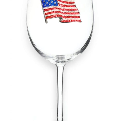 american flag holiday wine glass