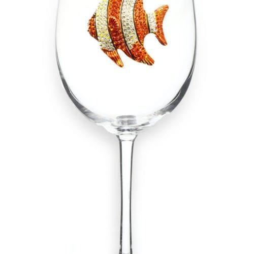 gold fish wine glass