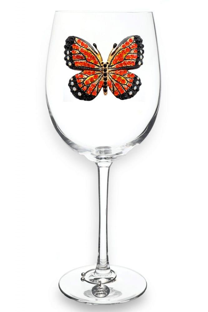 monarch butterfly wine glass