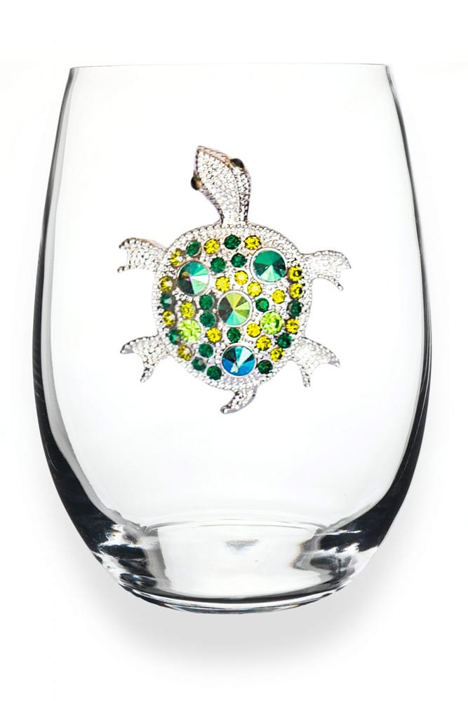 Sea Turtle jeweled wine glass